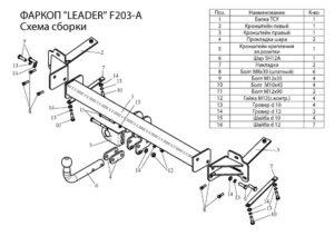 Фаркоп Лидер-Плюс для FIAT DOBLO (223) 2001-2010