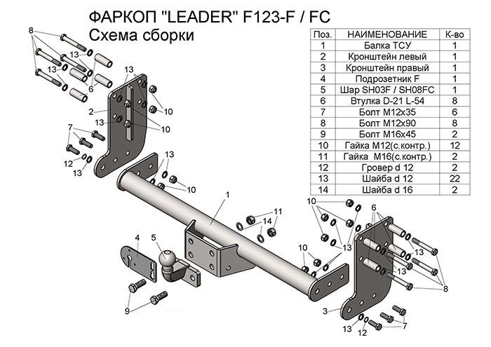 Фаркопы лидер плюс для FORD TRANSIT (шасси) 2013 — …