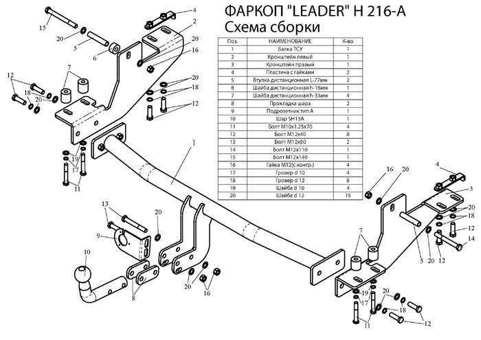Лидер плюс фаркопы для HYUNDAI H1 H1,STAREX (минивен) (4WD, задняя пружинная подвеска) 1998-2004
