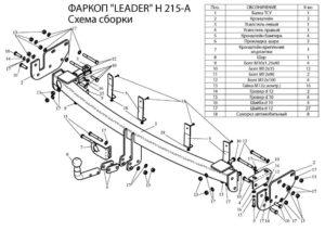 Фаркоп лидер плюс для HYUNDAI SANTA FE (CM) 2006-2012/ KIA SORENTO 3 (XM) 2009-2012