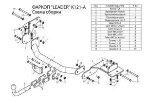 Фаркоп лидер плюс для KIA SORENTO ( 2015-…) (дизель, бензин) / HYUNDAI SANTA FE ( 2015-…) (дизель)