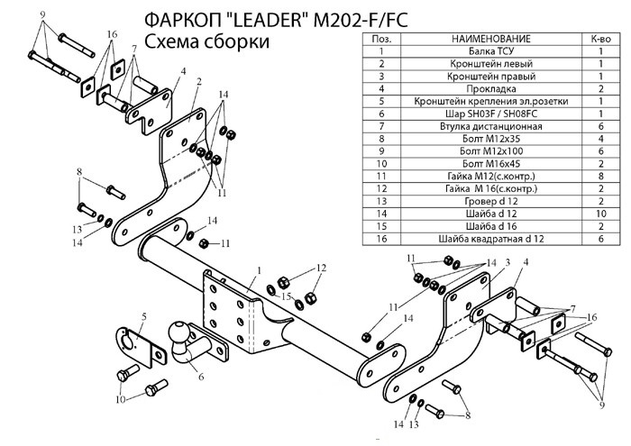 Фаркопы лидер плюс для MERCEDES VITO (638) (фургон) 1999-2003