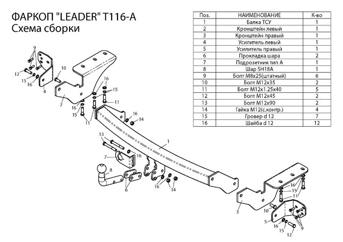 Фаркоп лидер плюс для TOYOTA RAV 4 2012-… Для автомобилей выпущенных c 2012 по нв