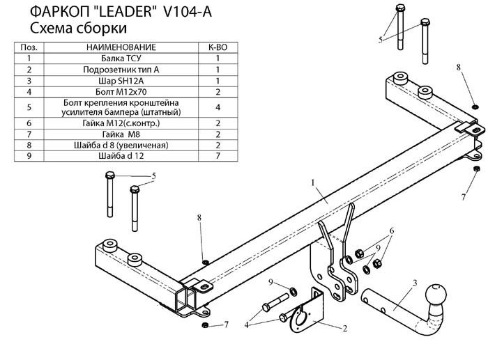 Фаркоп лидер плюс для VOLKSWAGEN PASSAT B5 (седан) 1996-2005