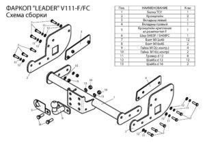 Фаркоп лидер плюс для VOLKSWAGEN TRANSPORTER T5 2003-2009 (7HA; 7HH) (фургон закрытый)
