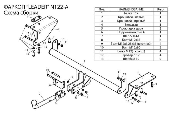 Фаркоп лидер плюс для NISSAN X-TRAIL 3 (T32) 2014 — …
