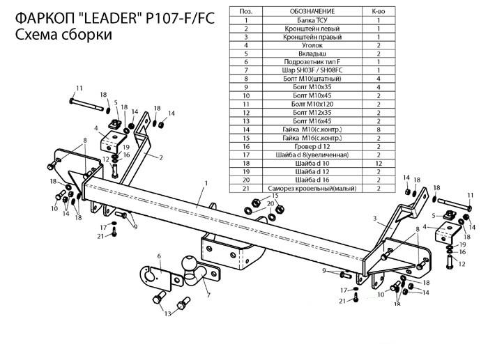 Фаркоп лидер плюс для PEUGEOT BOXER 3 (L1,L2,L3) 2006-… / CITROEN JUMPER (L1,L2,L3) 2006-…