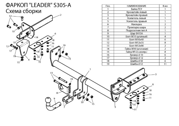 Фаркоп лидер плюс для SUBARU FORESTER (SJ) 2012-…
