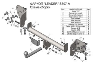 Фаркоп лидер плюс для SUBARU OUTBACK (ВМ) (универсал) 2009 — 2014 г.в.