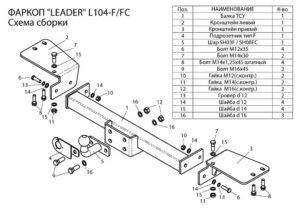 Фаркоп лидер плюс для LEXUS LX 470 (UZJ100) / TOYOTA LAND CRUISER 100 1998-2007