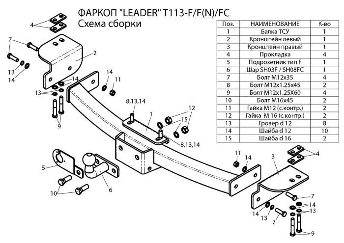 Фаркоп лидер плюс для TOYOTA L.C. PRADO (J120/J150) (2002 — …) / LEXUS GX (460/470) (…- 2014) / FJ CRUISER