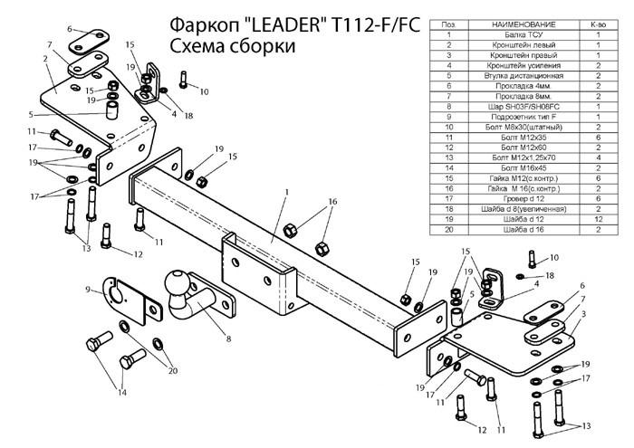 Фаркоп лидер плюс для TOYOTA LAND CRUISER 105 (1998-2007)